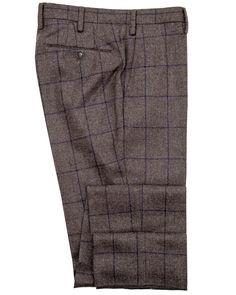 Image of Taupe with Navy Windowpane Business Dress Pant Mens Dress Pants, Dress Slacks, Tweed Dress, Men's Pants, Tweed Trousers, African Attire For Men, Business Dresses, Men Looks, Vintage Fashion
