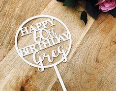 Happy Birthday Cake Topper Personalised Birthday Cake Topper Cake Decoration Cake Decorating Happy Birthday Cursive Topper CIRCSPCB