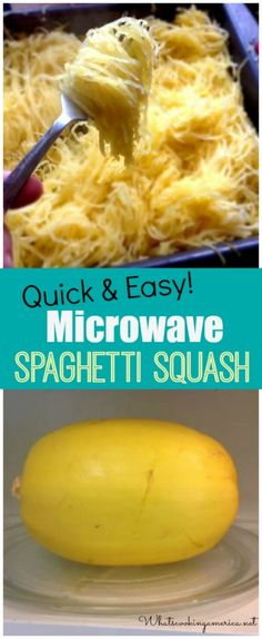 How to Microwave Spaghetti Squash - Quick & Easy! | whatscookingamerica.net | #microwave #spaghetti #squash