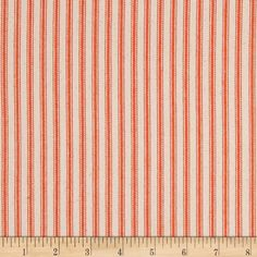 """44"""" Ticking Stripe Twill Orange from @fabricdotcom  This versatile, woven cotton twill medium weight fabric is perfect for window accents (draperies, valances, curtains and swags), toss pillows, bed skirts, duvet covers, slipcovers and more! Get creative with tote bags and aprons, too! Colors include orange and ivory. *Prewash to allow for shrinkage."""