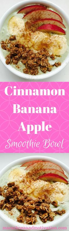 Cinnamon Banana Apple Smoothie Bowl made with Quest Nutrition Cinnamon Crunch Protein Powder | Gluten Free | Soy Free | Healthy Snack
