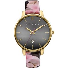 Ted Baker Women's Rose Date Floral Leather Strap Watch , Multi/Black (2.580 ARS) ❤ liked on Polyvore featuring jewelry, watches, accessories, pin jewelry, crown jewelry, leather-strap watches, floral jewelry and ted baker