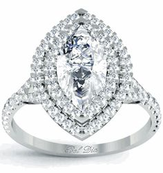 Marquise Baby Split Double Halo Engagement Ring. --- Brian, I NEED THIS.