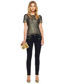 MICHAEL Michael Kors  Foiled Knit Sweater & Rocker Zip-Pocket Jeans ♥