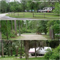 Nice sites for parking the RV at the Stephen Foster Folk Culture Center State Park. Along Snowbird RV Trails with Niki and Jack. Suwanee River, Stephen Foster, Sea To Shining Sea, White Springs, State Parks, The Fosters, Rv, Golf Courses, Trail