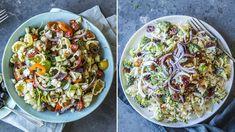 Lise Finckenhagen: Fire fristende og mettende pastasalater Savory Salads, Tex Mex, Sprouts, Feta, Potato Salad, Bacon, Potatoes, Vegetables, Ethnic Recipes
