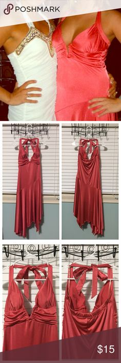 Charlotte Russe | Halter Dress Worn only once about 10 years ago to a fraternity formal, then dry cleaned and has been sitting in the back of my closet ever since. Very low cut notched V neck halter dress with ruching on and below the chest. Asymmetrical hem floats out from the fitted body and falls below the knee. Fabric is silly smooth and stretchy. Charlotte Russe Dresses Asymmetrical