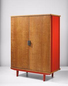 Jean Prouvé; #100 (Variant) Oak and Enameled Steel Wardrobe, 1952.