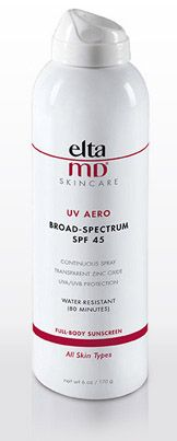 EltaMD UV Aero Broad-Spectrum SPF 45 Sunscreen is Oil-free : Fragrance-free : Paraben-free: Sensitivity-free : Non-comedogenic : Water-resistant (80 mins) : Continuous spray