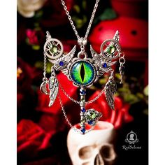 Dragon eye necklace, fantasy key, fantasy jewelery, eye jewelry, evil... ($17) ❤ liked on Polyvore featuring jewelry, necklaces, gothic jewellery, steampunk necklace, chains jewelry, wing necklace and steam punk necklace