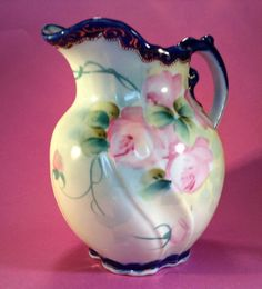 SOLD! Imperial-Nippon-Swirl-Shaped-Pitcher-Hand-Painted-Gilding-Moriage-Beading