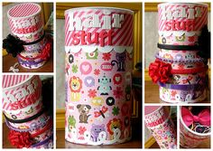 Headband, Ponytail Holder and Barrette Container from empty oatmeal box and scrapbook paper