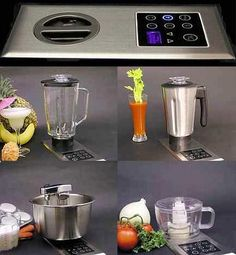 """Cut down on kitchen appliances. This """"kitchen center"""" has one motor and display that has various kitchen appliance attachments. It eliminates extra cords and saves space by using just one motor for all appliances."""