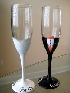 """""""Bride and Groom Glasses by Hand Painted Glassware by Laura"""" - bridal shower gift"""