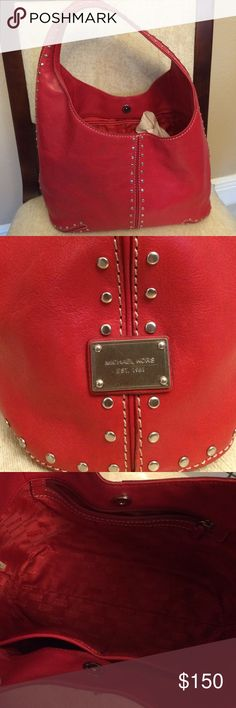 Red leather micheal kors Like new! No rips! Make an offer Bags Shoulder Bags
