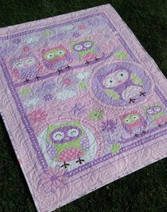 Baby Quilt Girl Pink Purple Green  play mat by morethanjustquilts