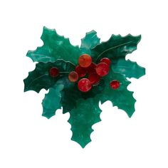 Holly Jolly Brooch by Erstwilder Holiday Gifts, Christmas Gifts, Christmas Clothes, Holly Wreath, Holly Leaf, Red Berries, Flower Brooch, Keepsake Boxes, Plant Leaves