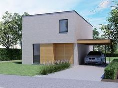 Deze moderne BEN-woning haalt een E-peil van 12! Nieuwbouw • modern • plat dak • houten bekleding • carport • Foto: www.thuisbest.be