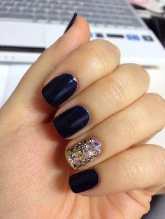 Deep navy and Glitter Nail Design.