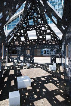 Monument outside Shin-Yatsushiro Station, designed by architect Kumiko Inui Architecture Design, Japan Architecture, Light Architecture, Amazing Architecture, Landscape Architecture, Landscape Design, U Bahn Station, Light In, Installation Art