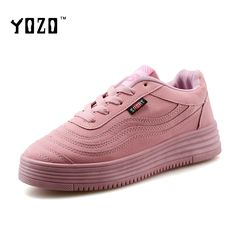 YOZO Women Shoes Fashion Lace Up Flock Casual Shoes Women Flat Leisure Pink Shoes Women Brand Shoes Women Chaussures Femme 2016