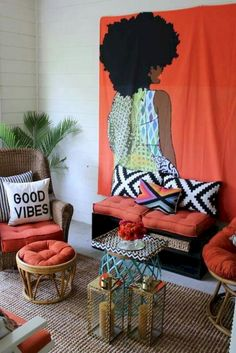 retro home decor Creative Modern Decor With Afrocentric African Style Ideas African Living Rooms, African Bedroom, African Themed Living Room, Retro Home Decor, Unique Home Decor, Home Decor Styles, African Interior Design, Decor Interior Design, Diy Design