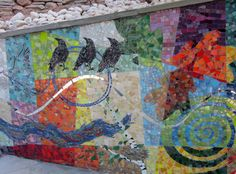 mosaics by artist Cynthia FIsher, BIg Bang Mosaics, outdoor installation on patios and poolside