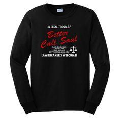 Better Call Saul LONG SLEEVE T-shirt Breaking Bad Los Pollos Hermanos Chickn Brothers AMC TV Show LONG SLEEVE Tee Large Black