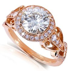 Round-cut Moissanite and Diamond Vintage-Style Engagement Ring 1 7/8 Carat (ctw) in 14k Rose Gold - Size 4
