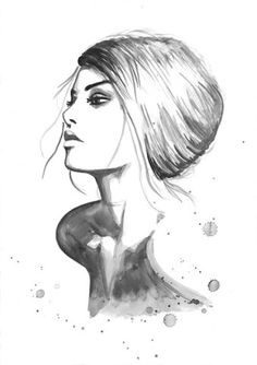 Print from Original Watercolor Fashion Illustration Modern Art Painting tittled Melodious Notes of Your Soul