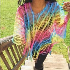 """Multi-Colored Beach Cover Poncho  Brand new still in original package  My Measurements  Height - 5'6  Weight - 110  26' waist bust' 34B For future references ❤️ Perfect for the beach , poolside or can be worn to any occasion  Vibrant colors  One size Fits All  Brand - Boutique No asking for """"what's lowest"""" Offers through the offer button only  Boutique Swim Coverups"""
