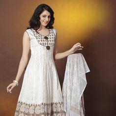 f06550c8e6 Off White Readymade Cotton Jacquard and Brocade Anarkali Churidar Kameez  Latest Salwar Kameez