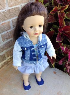 Trendy jean jacket sweater by PincushionsandPaper on Etsy. Made using the LJC Denim Jacket pattern. Get it here http://www.pixiefaire.com/products/denim-jacket-18-doll-clothes. #pixiefaire #libertyjane #denimjacket