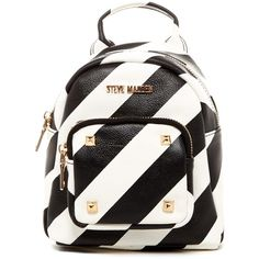 Steve Madden BBelou Stripe Mini Backpack ($35) ❤ liked on Polyvore featuring bags, backpacks, mini backpack, studded bag, white backpack, backpacks bags and zipper bag
