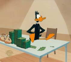 """Original production cel from the Production, """"Quackbusters,"""" made by Warner Bros. Classic Animation in the 1990s. The hand-painted cel is matched with a printed background from the original production art."""