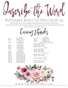 Our November Scripture Writing Bible Study plans are here! This month, we are inscribing Scriptures about those in the Word who GAVE THANKS to God for all He has done and who He is. Let's dig into the Word and let's give thanks.