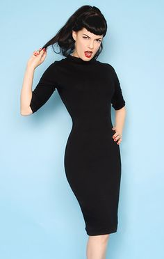 Heartbreaker Fashion - Rockabilly Bad Girl Black Knit Spy Dress in Black. This dress will break hearts all over town!! It is a real bad girl dress!