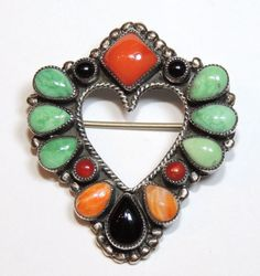 Signed Feeney for Don Lucas, Sterling Heart Brooch / Pin, Southwestern, Coral, Onyx, Turquoise