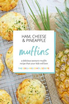 Ham, Cheese & Pineapple Muffins Looking for a delicious savoury muffin recipe that your kids will love to have in their school lunch boxes? My Ham, Cheese and Pineapple Muffins are so yummy and full of goodness. Kid Muffins, Bacon Muffins, Savory Muffins, Savory Snacks, Cheese Muffins, Savoury Muffin Recipe, Muffin Recipes, Zucchini Muffins, Muffins Blueberry