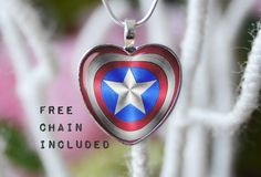 Heart shape Captain America necklace. by TheNotaBeneStudio on Etsy