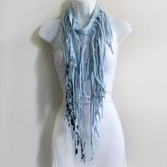 "Fringe Scarves ♥  I could pin this to my ""Style"" board too, really, but I SO love this idea & all possible variations on it! Somebody get me a pair of scissors!"