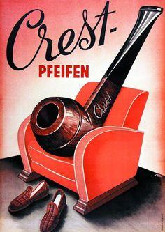 Plakate: Crest Pfeifen, 1940 von Wyler, L. Wooden Smoking Pipes, Tobacco Pipe Smoking, Tobacco Pipes, Vintage Advertisements, Vintage Ads, Best Pipe Tobacco, Vintage Cigarette Ads, Cigar Shops, Briar Pipe
