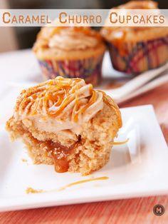 Caramel-filled homemade churro cupcakes