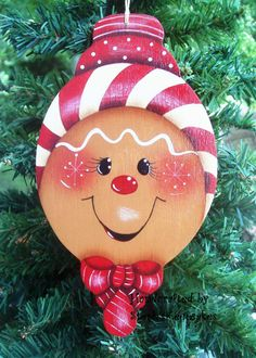 Handpainted  Christmas Gingerbread  Cookie by stephskeepsakes, $7.25