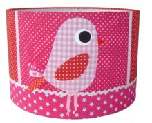 Babykamer Lampenkap met Vogel in Roze & Rood Combinatie, kijk voor meer Babyspullen