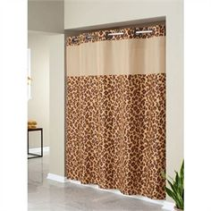 Leopard Animal Print Fabic Hookless Shower Curtain with Snap in Peva Liner and Sheer Window