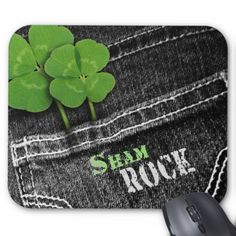 Sham Rock. Denim design  St. Patrick's Day Gift Mousepads. Matching cards, postage stamps and other products available in the Holidays / St. Patrick's Day Category of the Mairin Studio store at zazzle.com
