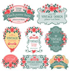 Floral label vector - by Pazhyna on VectorStock®