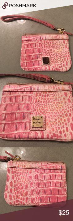 Dooney & Bourke Wristlet. Pink faux snake skin. Dooney & Bourke Wristlet. Pink leather faux snake skin design. Bags Clutches & Wristlets