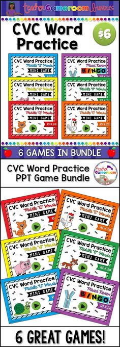Practice spelling CVC words in this fun powerpoint game Bundle. 5 powerpoint games and 1 bingo game with 30 bingo sheets, call cards, and call sheet. Great for kindergartners, ELA pratice, or word work centers. CCSS aligned!